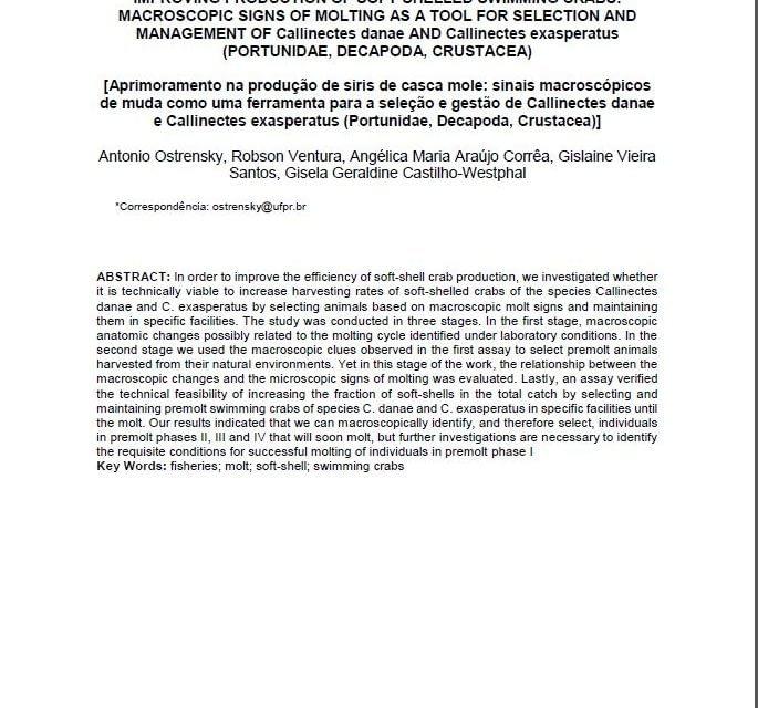 Produção de siri-mole em condições ambientais controladas
