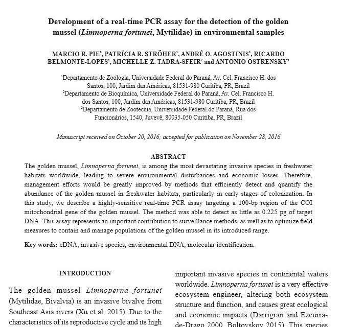 PCR em tempo real para a detecção do mexilhão-dourado em amostras ambientais